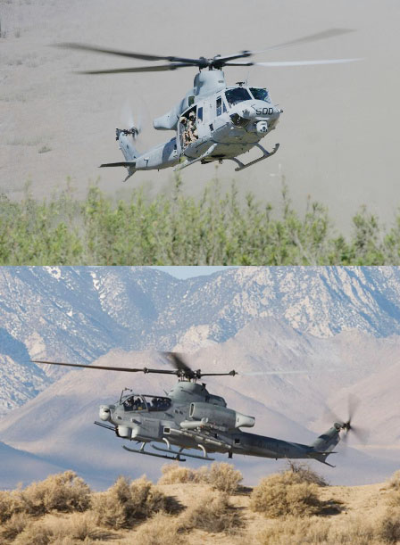Photographs of UH-1Y and AH-1Z helicopters