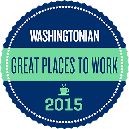 Image of a round seal (not the animal) reading: Washingtonian Great Places to Work 2015; there is also a small icon representing a steaming cup of coffee, for what it's worth.