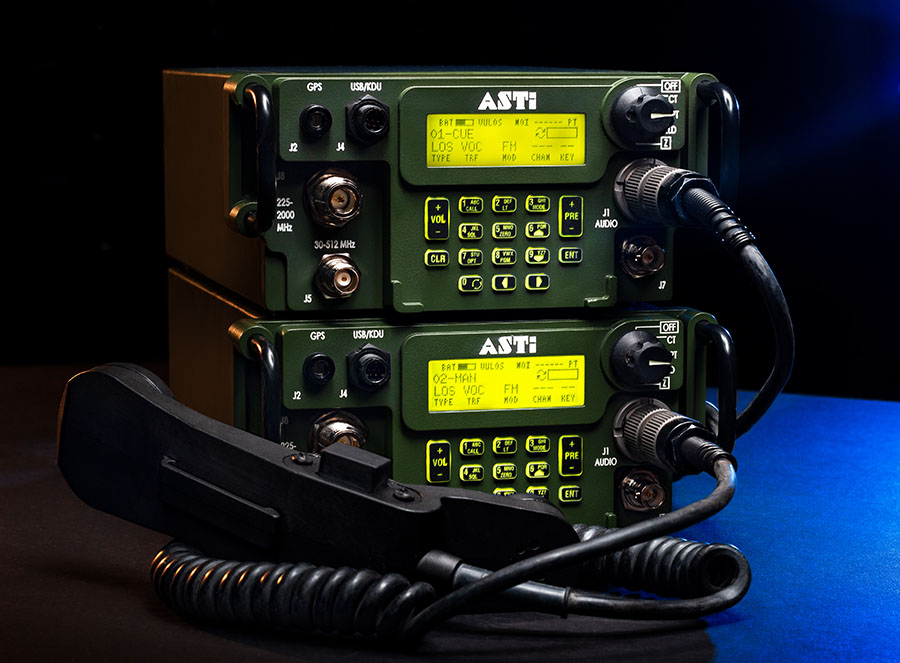 ASTi's simulated AN/PRC-117G radios (ASTi photo by Kerrenton Snow)