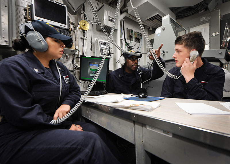 Destroyer's central control station during a drill/U.S. Navy